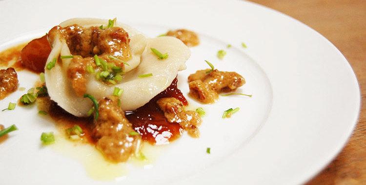 Tortellini gorgonzola peer pancetta